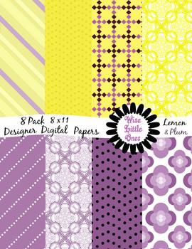 Designer Digital Papers - Beautiful 8 pack of Lemon and Plum