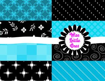 Designer Digital Papers - Beautiful 8 pack of Ocean Blues and Black