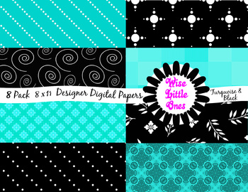 Designer Digital Papers - Beautiful 8 pack of Turquoise and Black