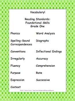 Designer Dots Theme Grade One CCSS Complete Vocabulary Program