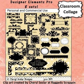 Designer Elements Bundle Set - 57 different clip art - B/W