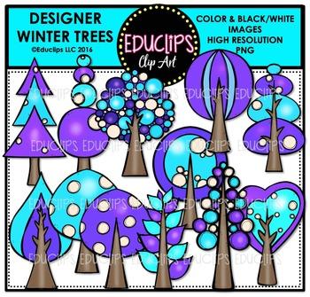 Designer Winter Trees Clip Art Bundle  {Educlips Clipart}