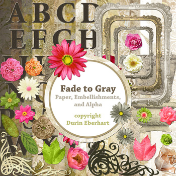 Designer's Resource: Fade to Gray Paper, Embellishments and Alphas