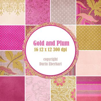 Designer's Resource: Gold and Plum Paper