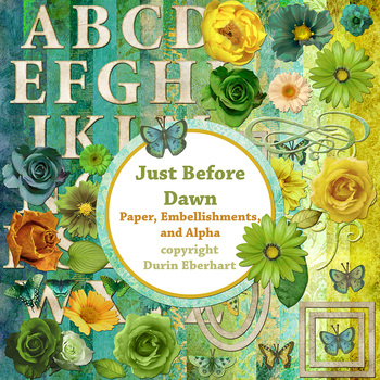 Designer's Resource: Just Before Dawn Paper, Embellishments and Alphas