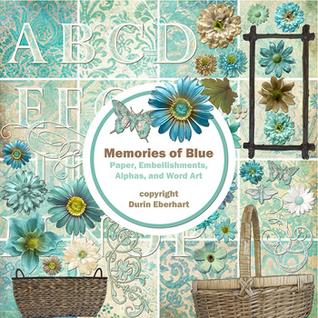 Designer's Resource: Memories of Blue Paper, Embellishments and Alphas