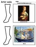 Designing Art Socks, 6 pages, Sock History Comics, Patterns, Art Lesson