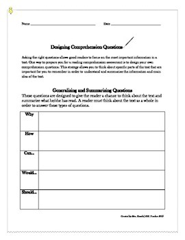 Designing Comprehension Questions: Generalization and Summarizing