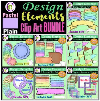 Designing Elements Clip Art BUNDLE Pastel Plain
