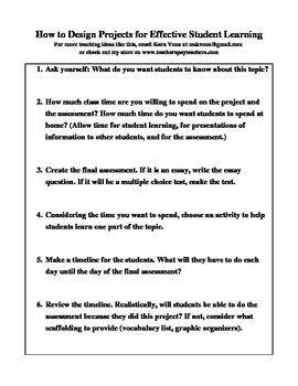 Designing Projects for Effective Student Learning