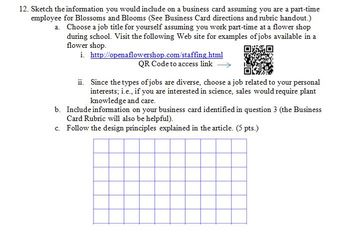 Designing a Business Card Reading Assignment/Project