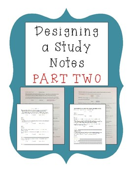 Designing a Study Part Two Notes