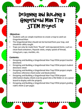 Designing and Building a Gingerbread Man Trap using Simple Machines STEM Project
