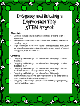 Designing and Building a Leprechaun Trap using Simple Machines STEM project