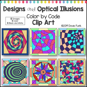 Designs and Optical Illusions Color by Code Clip Art