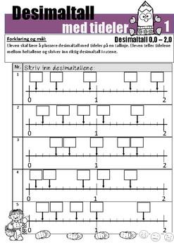Desimaltall med tideler: Skrive inn og plassere desimaltall på tallinje