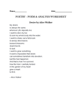 Desire by Alice Walker - Poetry assignment - poem and writ