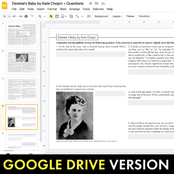 Desiree's Baby, Kate Chopin short story, Compare & Contrast, Multimedia CCSS