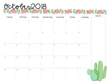 Desk Calendar {Cactus Themed}