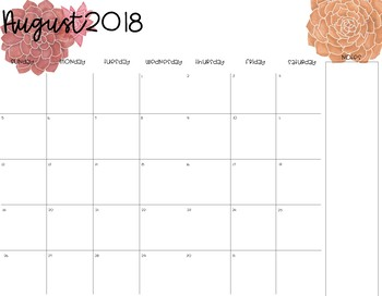 Desk Calendar {Floral & Succulent Theme}