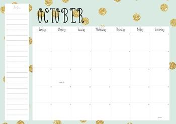 Desk Calendar; Mint and Gold Calendar; 2015-2016 Calendar