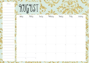 Desk Calendar; Mint and Gold Calendar; 2015-2016 Calendar