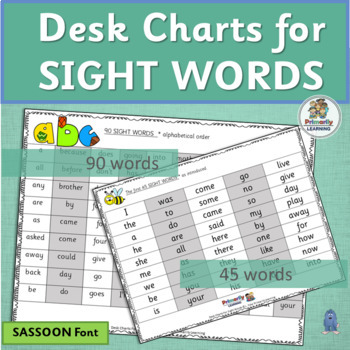 Sight Words Desk Charts are a great for programs like Jolly Phonics. (SASSOON)
