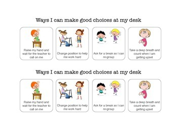 Social Story: Desk Cue - Ways to make good choices in the classroom