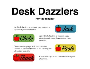 Desk Dazzlers ABC FREE - A Monthly Student Name Plate (Primary)