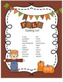 Fall Spelling List
