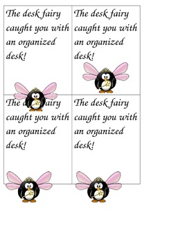 Desk Fairy Cards (Freebie): Clean Desk Behavior Recognition Cards