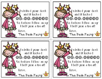 Desk Fairy Rewards -- Classroom Management