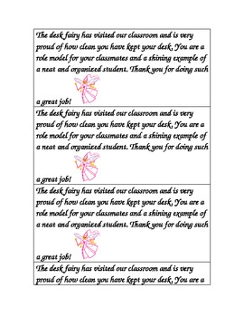 Desk Fairy Letter Note for Clean Desks Praise Recognition Award Students