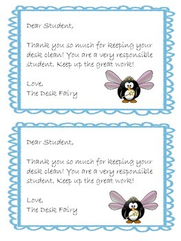 Desk Fairy & Locker Fairy Notes- 4 different themes