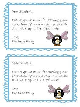 Desk Fairy & Locker Fairy Notes- 4 different themes
