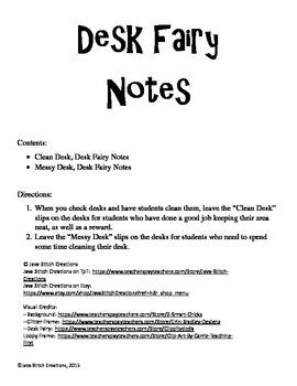 Desk Fairy Notes FREEBIE