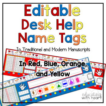Editable Desk Help Nametags in Red, Blue, Orange and Yellow