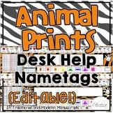Editable Desk Help Nametags in Animal Prints