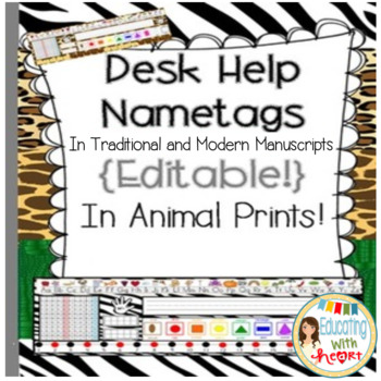 Editable Desk Help Nametags in Animal Prints