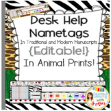 Desk Help Nametags in Animal Prints: Common Core Aligned