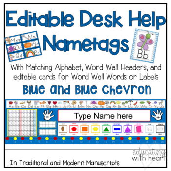 Desk Help Nametags with Matching Alphabet, and Word Wall in Blue and Chevron