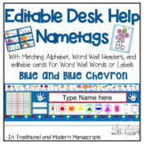 Editable Desk Help Name plates with matching Alphabet, and