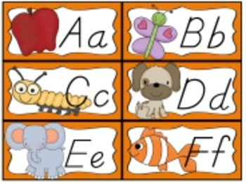 Desk Help Nametags with Matching Alphabet, and Word Wall in Orange and  Chevron