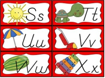 Desk Help Nametags with Matching Alphabet, and Word Wall in Red and Red Chevron
