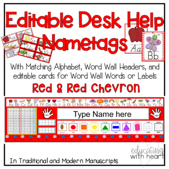 Editable Desk Help Nametags  and Alphabet, and Word Wall in Red and Red Chevron