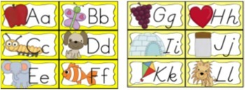 Desk Help Nametags with Matching Alphabet, and Word Wall in Yellow and Chevron