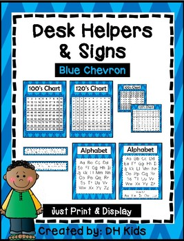 Desk Helpers & Signs: Letters & Number Charts - Blue Chevron