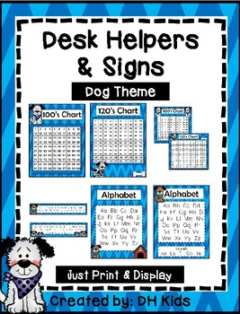 Desk Helpers & Signs: Letters & Number Charts - Dog Theme