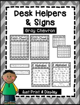 Desk Helpers & Signs: Letters & Number Charts - Gray Chevron