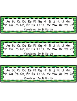 Desk Helpers & Signs: Letters & Number Charts - Green Chevron